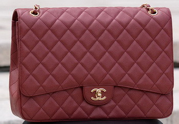 Chanel Maxi Quilted Classic Flap Bag Maroon Cannage Pattern A58601 Gold
