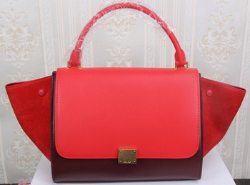 Celine Trapeze Bag Original Suede Leather CT3342 Burgundy&Red