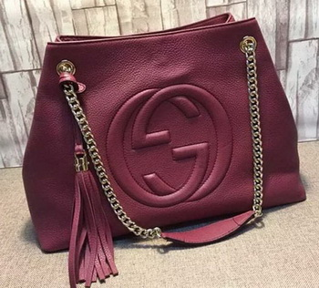 Gucci Soho Medium Tote Bag Calfskin Leather 308982 Maroon
