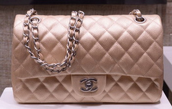 Chanel 2.55 Series Flap Bag Gold Original Caviar Leather A1112 Silver