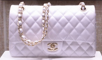 Chanel 2.55 Series Flap Bag Silver Original Caviar Leather A1112 Gold