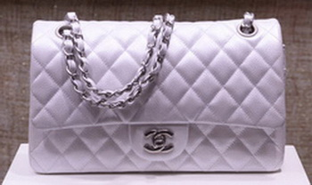 Chanel 2.55 Series Flap Bag Silver Original Caviar Leather A1112 Silver