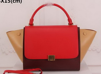 Celine Trapeze Bag Original Suede Leather CT3342 Red&Brown&Apricot