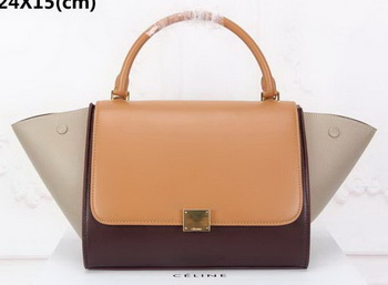 Celine Trapeze Bag Original Suede Leather CT3342 Wheat&Brown&Apricot