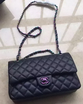 Chanel 2.55 Series Double Flap Bag Original Lambskin Leather A1112 Black