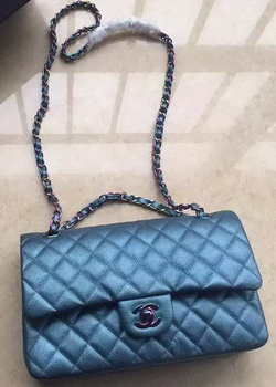 Chanel 2.55 Series Double Flap Bag Original Lambskin Leather A1112 Blue
