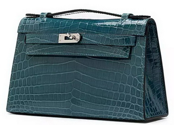 Hermes MINI Kelly 22cm Clutch Croco Leather KL22 Green