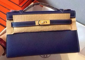 Hermes MINI Kelly 22cm Tote Bag Calfskin Leather K22 Blue
