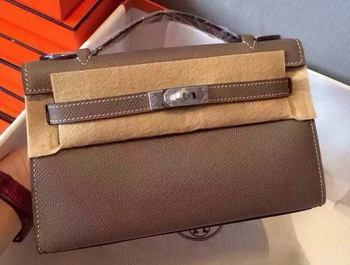 Hermes MINI Kelly 22cm Tote Bag Calfskin Leather K22 Grey