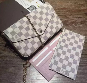 Louis Vuitton Damier Azur Canvas Felicie Chain Wallet N61276
