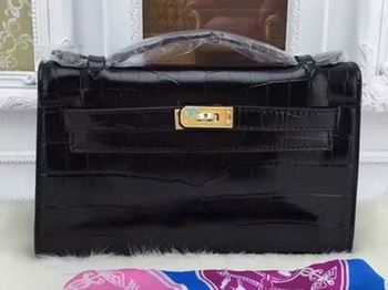 Hermes MINI Kelly 22cm Tote Bag Croco Leather KL22 Black