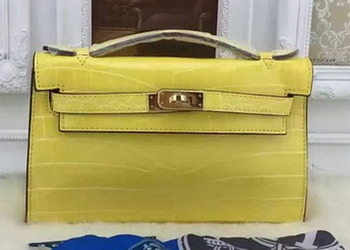 Hermes MINI Kelly 22cm Tote Bag Croco Leather KL22 Lemon