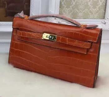 Hermes MINI Kelly 22cm Tote Bag Croco Leather KL22 Orange