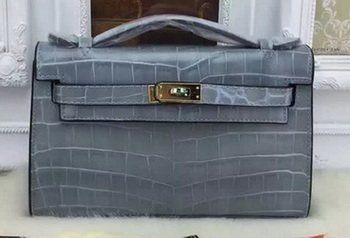 Hermes MINI Kelly 22cm Tote Bag Croco Leather KL22 SkyBlue