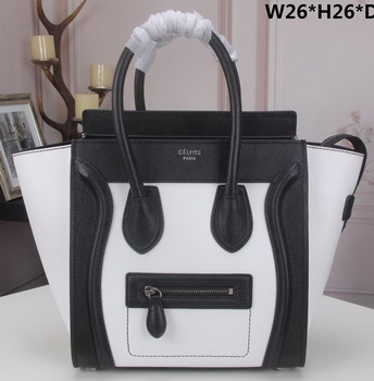 Celine Luggage Micro Tote Bag Original Litchi Leather CLY33081M White&Black