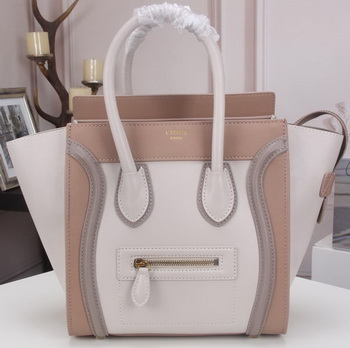 Celine Luggage Micro Tote Bag Original Litchi Leather CLY33081M White&Camel