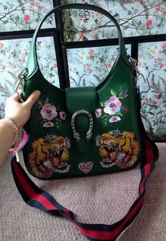 Gucci Dionysus Embroidered Leather Hobo Bag 444072 Green