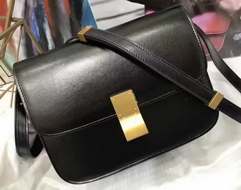 Celine Classic Box Flap Bag Smooth Leather C20447 Black