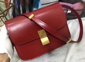 Celine Classic Box Flap Bag Smooth Leather C20447 Red