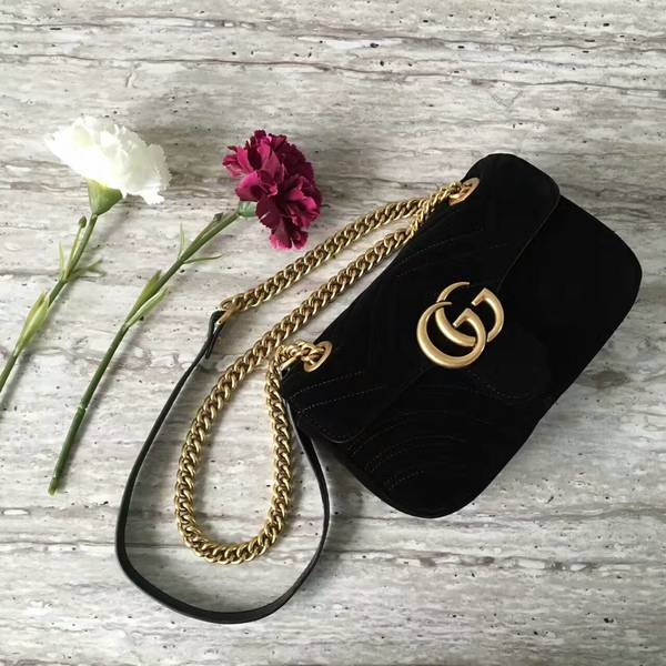Gucci GG Marmont Suede Leather Mini Shoulder Bag 446744 Black