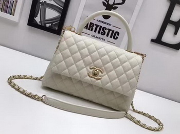 Chanel Classic Top Handle Bag OffWhite Sheepskin Leather A92991 Gold