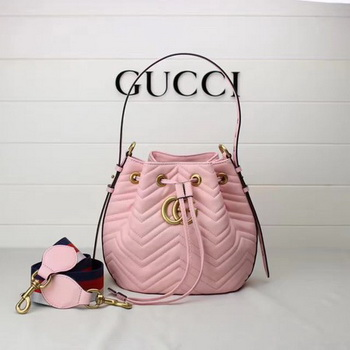 Gucci GG Marmont Quilted Leather Bucket Bag 476674 Pink