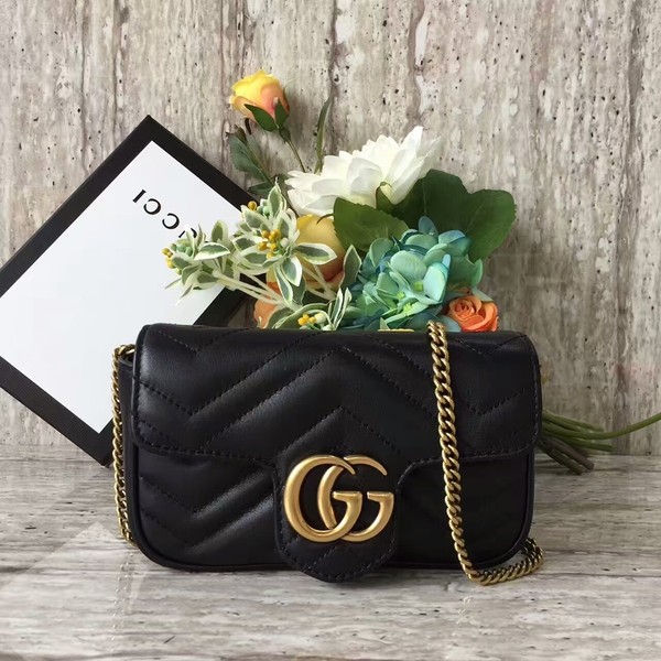 Gucci GG Marmont Velvet Nano Shoulder Bag 476433A Black
