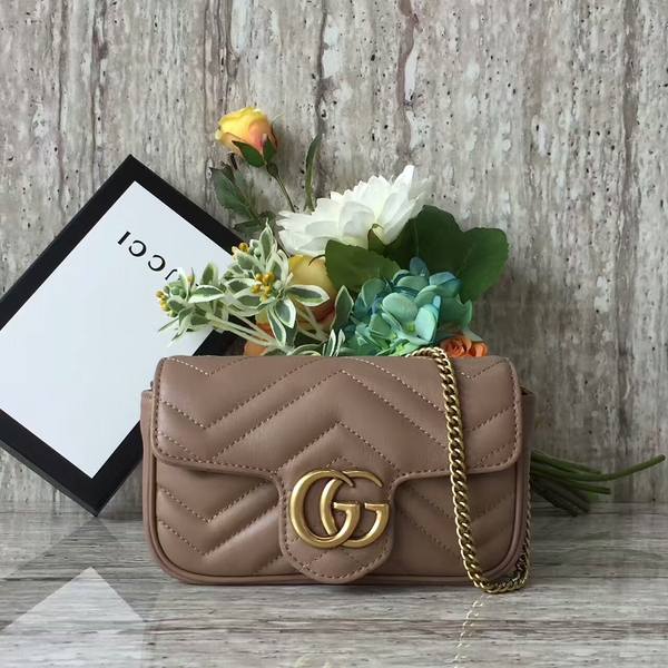 Gucci GG Marmont Velvet Nano Shoulder Bag 476433A Brown