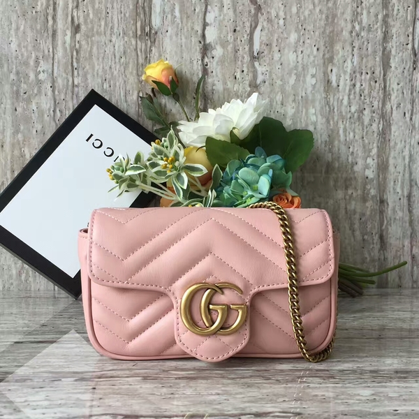 Gucci GG Marmont Velvet Nano Shoulder Bag 476433A Light Pink