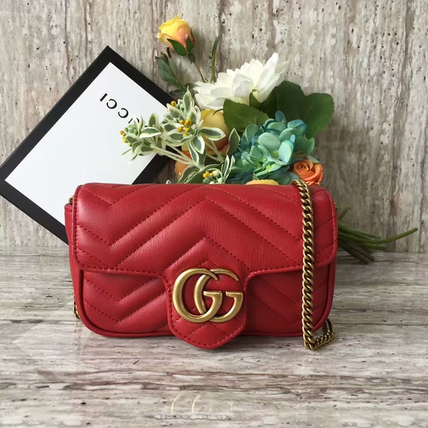 Gucci GG Marmont Velvet Nano Shoulder Bag 476433A Red