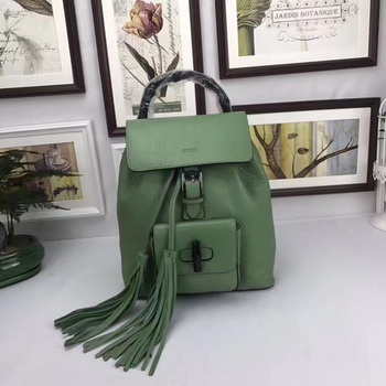 GUCCI Calfskin Leather Backpack 387149 Green
