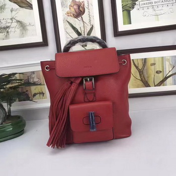 GUCCI Calfskin Leather Backpack 387149 Red