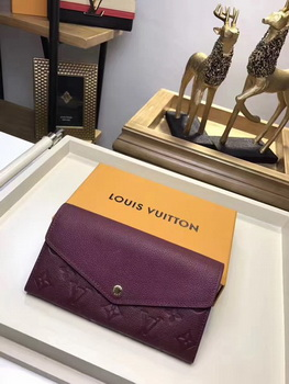 Louis Vuitton Monogram Empreinte SARAH WALLET M61182 Wine