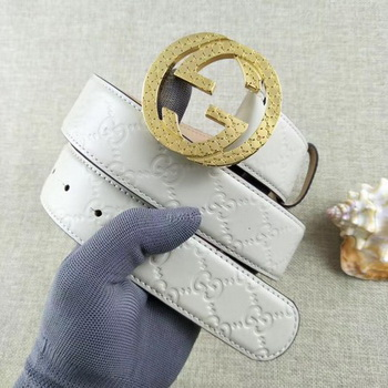Gucci 38mm Leather Belt GG57099 OffWhite