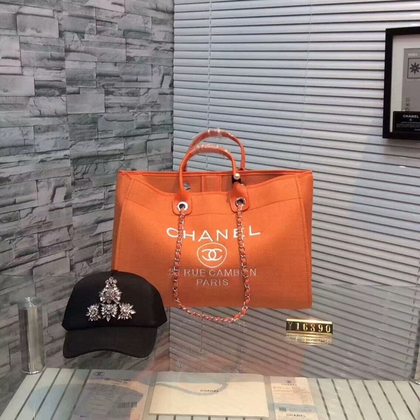 Chanel Large Canvas Tote Shopping Bag CNA1679 Orange