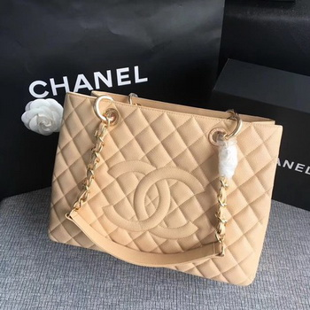 Chanel LE Boy Grand Shopping Tote Bag GST Apricot Cannage Pattern A50995 Gold