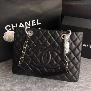 Chanel LE Boy Grand Shopping Tote Bag GST Black Cannage Pattern A50995 Silver