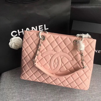 Chanel LE Boy Grand Shopping Tote Bag GST Pink Cannage Pattern A50995 Silver