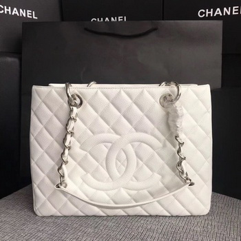 Chanel LE Boy Grand Shopping Tote Bag GST White Cannage Pattern A50995 Silver