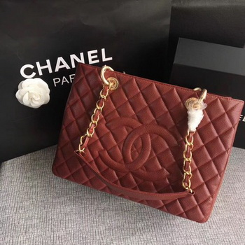 Chanel LE Boy Grand Shopping Tote Bag GST Wine Cannage Pattern A50995 Gold