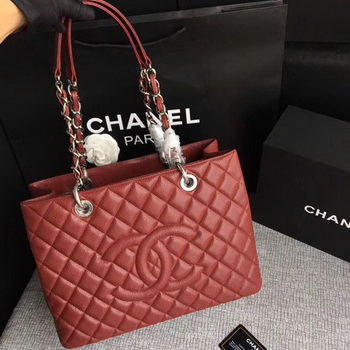Chanel LE Boy Grand Shopping Tote Bag GST Wine Cannage Pattern A50995 Silver