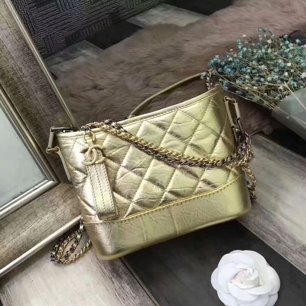Chanel Gabrielle Calfskin Leather Shoulder Bag 8122A Glod