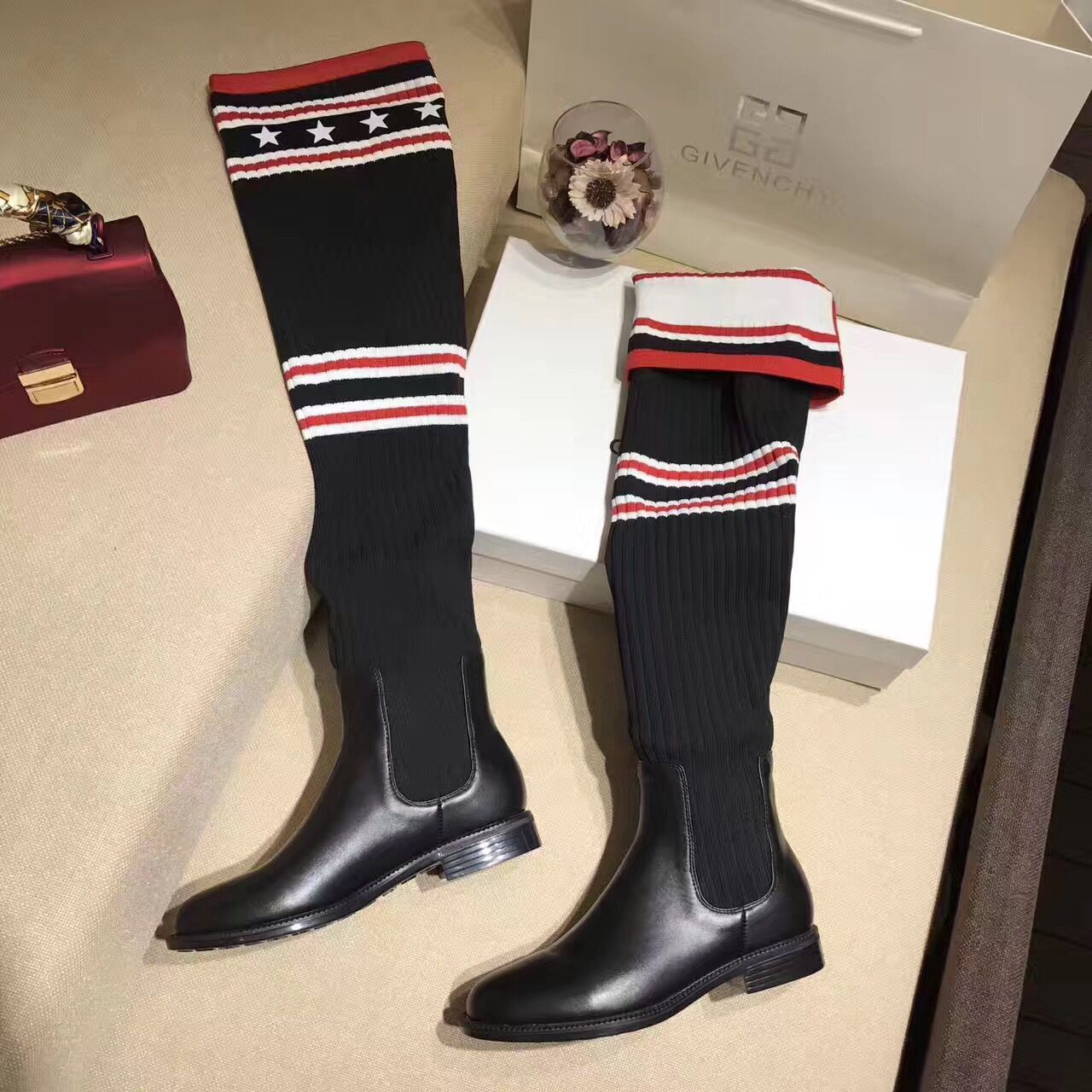 Givenchy Fashion Style Knee Socks Boots 86249 Black