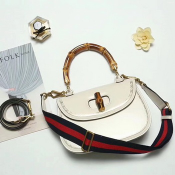 Gucci Bamboo Classic Leather Top Handle Bag 495880 OffWhite