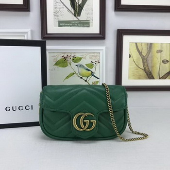 Gucci GG Marmont Matelasse Leather Super Mini Bag 476433 Green