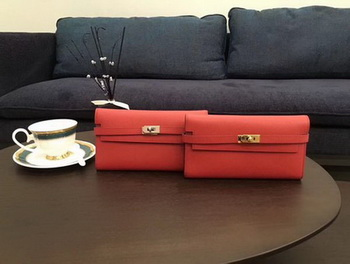 Hermes Kelly Epsom Leather Wallet H4086 Red