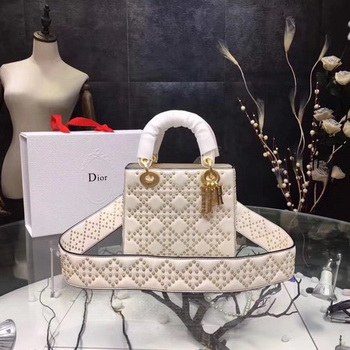 Dior mini Lady Dior Bag Original Sheeepskin Leather CD3891 OffWhite