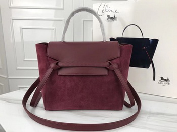Celine Small Belt Bag Original Suede Leather A98310 Wine