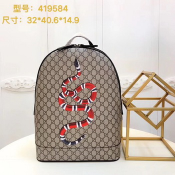 Gucci Kingsnake Print GG Supreme Backpack 419584 Brown