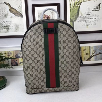 Gucci GG Supreme backpack with Web 443805 Brown